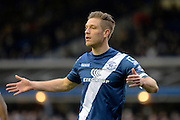 Birmingham City defender and Goalscorer Michael Morrison during the Sky Bet Championship match between Birmingham City and Fulham at St Andrews, Birmingham, England on 19 March 2016. Photo by Alan Franklin.
