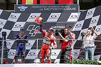 Ducati's Team rider Italian Andrea Dovizioso, winner, Maverick ViÒales of Spain  and Movistar Yamaha MotoGP second, Danilo Petrucci of Italy and OCTO Pramac Racing third during the Moto GP Grand Prix at the Mugello race track on June 4, 2017 celebrates on the podium. <br /> MotoGP Italy Grand Prix 2017 at Autodromo del Mugello, Florence, Italy on 4th June 2017. <br /> Photo by Danilo D'Auria.<br /> <br /> Danilo D'Auria/UK Sports Pics Ltd/Alterphotos