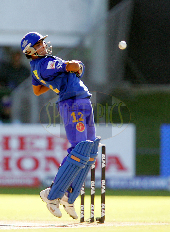 PORT ELIZABETH, SOUTH AFRICA - 02 May 2009. Ravindra Jadeja avoids an RP Singh delivery during the  IPL Season 2 match between the Deccan Chargers and the Rajatshan Royals held at St Georges Park in Port Elizabeth , South Africa..