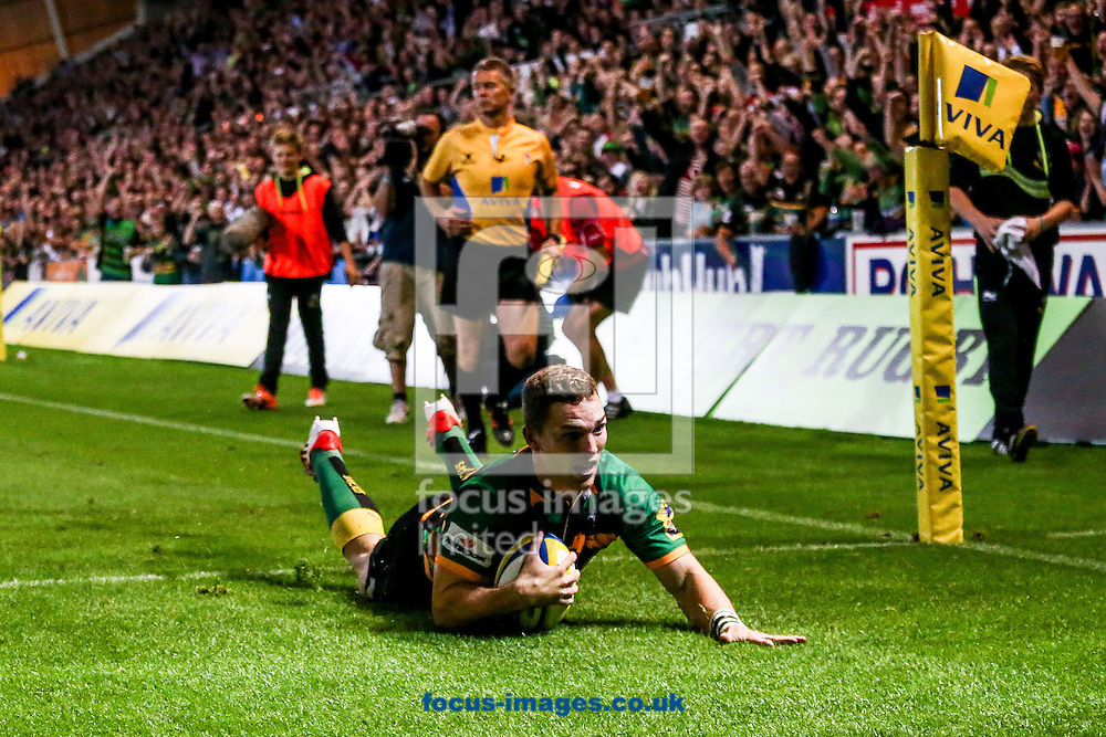 George North of Northampton Saints scoring a try during the Aviva Premiership match at Franklin's Gardens, Northampton<br /> Picture by Andy Kearns/Focus Images Ltd 0781 864 4264<br /> 05/09/2014