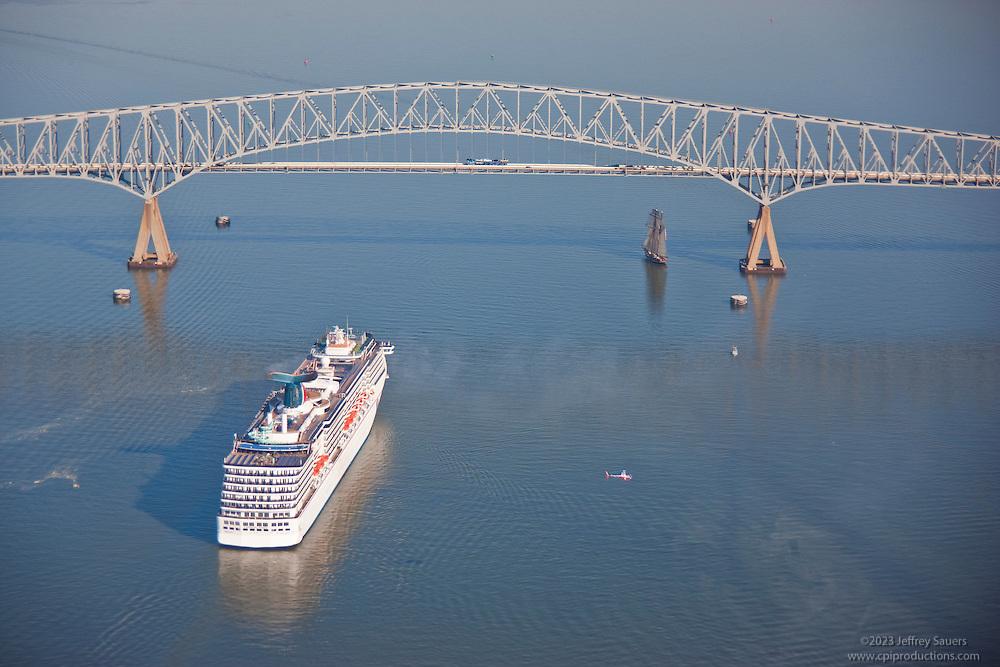 Aerial Shot of Carnival Pride approaching Key Bridge , Baltimore Maryland.