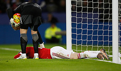 Wayne Rooney of Manchester United lies on the pitch injured  - Mandatory byline: Jack Phillips/JMP - 07966386802 - 28/11/2015 - SPORT - FOOTBALL - Leicester - King Power Stadium - Leicester City v Manchester United - Barclays Premier League
