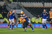 Harry Maguire (Hull City) brought down for a penalty during the Sky Bet Championship match between Hull City and Cardiff City at the KC Stadium, Kingston upon Hull, England on 13 January 2016. Photo by Mark P Doherty.
