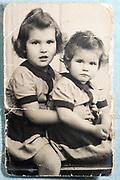 little girls posed France ca 1950s