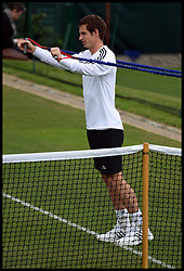 British No 1 Andy Murray Training during the Wimbledon Tennis Championships<br /> Tuesday, 25th June 2013<br /> Picture by Andrew Parsons / i-Images