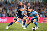 SYDNEY, AUSTRALIA - APRIL 06: Melbourne Victory forward James Troisi (10) gets the ball past Sydney FC midfielder Joshua Brillante (6) at round 24 of the Hyundai A-League Soccer between Sydney FC and Melbourne Victory on April 06, 2019, at The Sydney Cricket Ground in Sydney, Australia. (Photo by Speed Media/Icon Sportswire)