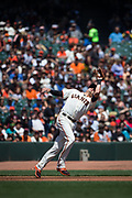 San Francisco Giants third baseman Ryder Jones (63) catches a pop fly against the Arizona Diamondbacks at AT&T Park in San Francisco, California, on August 6, 2017. (Stan Olszewski/Special to S.F. Examiner)