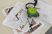 Interior Design Concept. Tape measure and plans