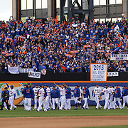 The New York Mets team celebrate with their fans after closing out the regular season with a 1-0 win over the Washington Nationals  during the New York Mets Vs Washington Nationals MLB regular season baseball game at Citi Field, Queens, New York. USA. 4th October 2015. Photo Tim Clayton
