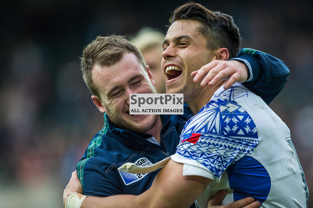 Stuart Hogg and Sean Maitland celebrate after the Rugby World Cup match between Scotland and Samoa (c) ROSS EAGLESHAM | Sportpix.co.uk