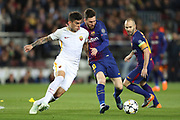 LIONEL MESSI of FC Barcelona duels for the ball with DIEGO PEROTTI of AS Roma during the UEFA Champions League, quarter final, 1st leg football match between FC Barcelona and AS Roma on April 4, 2018 at Camp Nou stadium in Barcelona, Spain - Photo Manuel Blondeau / AOP Press / ProSportsImages / DPPI