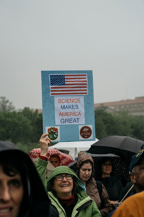Protesters listen to speakers during a rally before  the March for Science in Washington, D.C. on April 21, 2017.