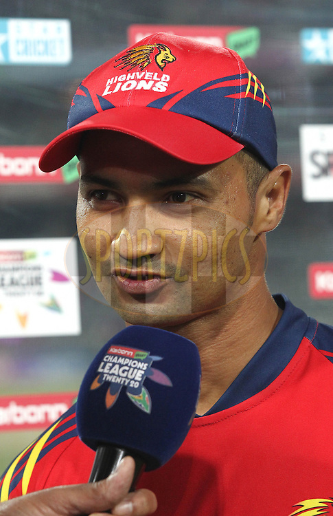 Highveld Lions captain Alviro Petersen during the Final of the  Karbonn Smart CLT20 South Africa between the Sydney Sixers and the Highveld Lions  held at The Wanderers Stadium in Johannesburg, South Africa on the 28th October 2012..Photo by Shaun Roy/SPORTZPICS/CLT20