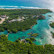 Aerial view of Xel-Ha ecopark.