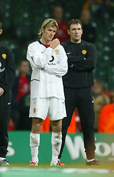 CARDIFF, WALES - Sunday, March 2, 2003: Manchester United's David Beckham watches Liverpool lift the Worthington League Cup after losing 2-0 in the final at the Millennium Stadium. (Pic by David Rawcliffe/Propaganda)