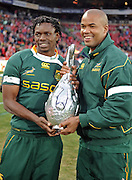 Jongi Nokwe and JP Pietersen of the Springboks with the 2009 Lions Series Trophy.<br /> Rugby - 090704 - Springboks vs British&Irish Lions - Coca-Cola Park - Johannesburg - South Africa. The Lions won the third test 28-9 but lost the series 2-1 to the Springboks.<br /> Photographer : Anton de Villiers / SASPA
