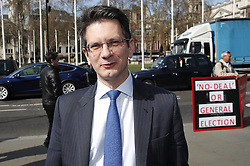 © Licensed to London News Pictures. 26/03/2019. London, UK. Steve Baker MP talks with campaigners outside Parliament. Photo credit: Peter Macdiarmid/LNP