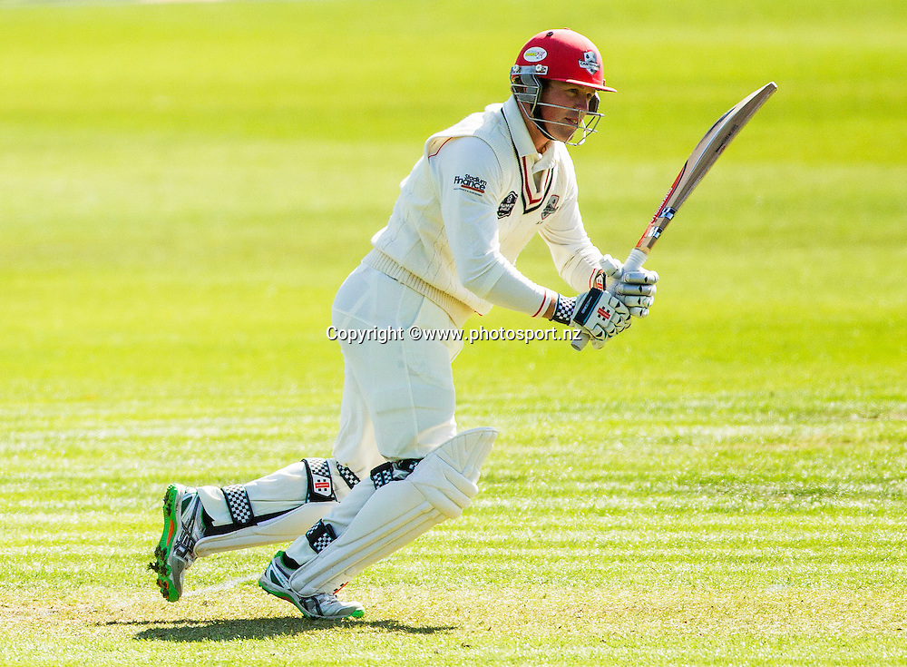 Henry Nicholls of Canterbury batting in the Plunket Shield cricket game between Canterbury v Central Districts at Mainpower Oval, Rangiora. 17 December 2015. Photo: Joseph Johnson / www.photosport.nz