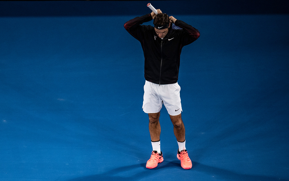 Roger Federer of Switzerland on day ten of the 2018 Australian Open in Melbourne Australia on Wednesday January 24, 2018.<br /> (Ben Solomon/Tennis Australia)
