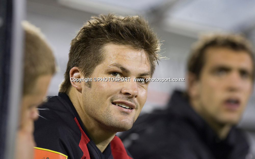 Richie McCaw on the bench before coming on in the second half. Air NZ Cup, Quarter Final, Canterbury v Tasman, AMI Stadium, Christchurch, Friday 10 October 2008. Photo: Joseph Johnson/PHOTOSPORT