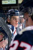 KELOWNA, BC - OCTOBER 2:  Parker Bell #22 of the Tri-City Americans stands on the bench against the Kelowna Rockets  at Prospera Place on October 2, 2019 in Kelowna, Canada. (Photo by Marissa Baecker/Shoot the Breeze)