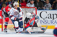 KELOWNA, CANADA - NOVEMBER 26: Michael Herringer #30 of the Kelowna Rockets deflects a shot against the Regina Pats on November 26, 2016 at Prospera Place in Kelowna, British Columbia, Canada.  (Photo by Marissa Baecker/Shoot the Breeze)  *** Local Caption ***