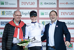 Franziska Koch (GER) of Mexx-Watersley Women's Cycling Team celebrates winning the best young rider's jersey after Stage 2 of 2019 Festival Elsy Jacobs, a 111.1 km road race starting and finishing in Garnich, Luxembourg on May 12, 2019. Photo by Balint Hamvas/velofocus.com