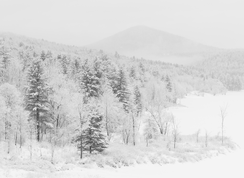 Winter landscape with fresh snow in Middlesex, Vermont.