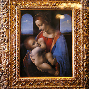 Leonardo da Vince's Madonna and Child, aka Madonna Litta. The Hermitage Museum also known as the Winter Palace,  was the main residence of the Russian Tsars located on the banks of the Neva River, in St. Petersburg.   Photography by Jose MorePhotography by Jose More