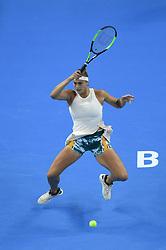 BEIJING , Oct. 2, 2018  Aryna Sabalenka of Belarus hits a return during the women's singles second round match against Garbine Muguruza of Spain at China Open tennis tournament in Beijing, China, Oct. 2, 2018. Aryna Sabalenka won 2-0. (Credit Image: © Ju Huanzong/Xinhua via ZUMA Wire)