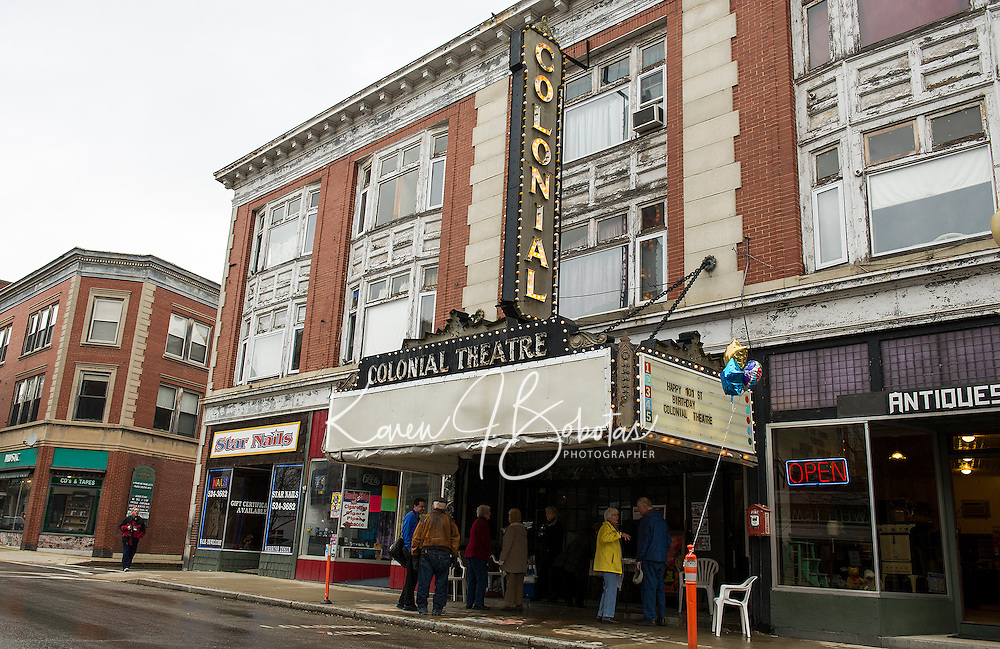 The Colonial Theater illuminated Main Street on Sunday afternoon as visitors stopped by in honor of her 101st birthday celebration.   (Karen Bobotas/for the Laconia Daily Sun)