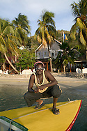 Shawn Williams, a water taxi driver that parks at The Fragipani Hotel, Bequia 4/05