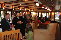 People came out Friday evening for the final After Hours event of April at the Robie where they were treated to food, music and tours of the historic house. The Robie House is located at 5757 S. Woodlawn.<br /> <br /> 2444 – People spent the evening socializing in the living room.