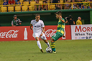 Tampa Bay Rowdies defender David Najim(5) and Swope Park Rangers midfielder/defender Alexander Andrade(92) battle for the ball during a USL soccer game, Sunday, May 26, 2019, in St. Petersburg, Fla. The Rowdies defeated the Rangers 1-0. (Brian Villanueva/Image of Sport)
