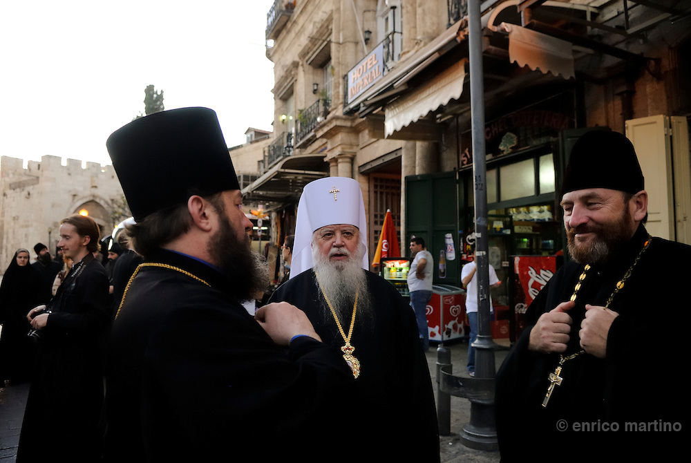 Greek orthodox priests near Jaffa gate.