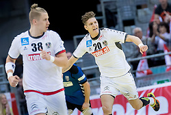02.11.2016, Arena Nova, Wiener Neustadt, AUT, EHF, Handball EM Qualifikation, Österreich vs Finnland, Gruppe 3, im Bild Wilhelm Jelinek (AUT), Sebastian Frimmel (AUT)// during the EHF Handball European Championship 2018, Group 3, Qualifier Match between Austria and Finland at the Arena Nova, Wiener Neustadt, Austria on 2016/11/02. EXPA Pictures © 2016, PhotoCredit: EXPA/ Sebastian Pucher
