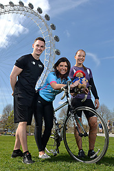 TV presenter Jeff Brazier and Dr Dawn Harper from C4's Embarrassing Bodies urge cyclists to sign up for the 'ultimate' London to Brighton cycle ride - the LA Fitness Capital to Coast cycle challenge takes place on Sunday 22nd June 2014.<br /> <br /> (l-r) LA Fitness staff Matt Bates (left) and Celia Hawthorn (right) with Dr Dawn Harper (centre).<br /> <br /> Thursday, 10th April 2014. Picture by Ben Stevens / i-Images