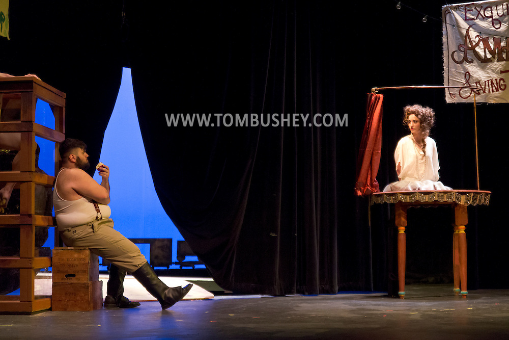 "Middletown, New York - Students from The Apprentice Players of the SUNY Orange Arts & Communications Department in a dress rehearsal of ""Freakshow"" and ""Death Comes to Us All, Mary Agnes"" at Orange Hall Theatre on April 10, 2014."