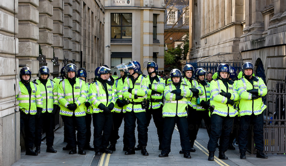 Police Line up in London City outside the Bank of England ahead of the G20 meeting.