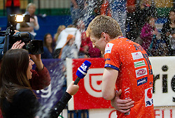 Nada Pavsin of 24ur and Vid Jakopin of ACH after the volleyball match between ACH Volley Bled and UKO Kropa at final of Slovenian National Championships 2011, on April 27, 2011 in Arena SGTS Radovljica, Slovenia. ACH Volley defeated Kropa 3-0 and became Slovenian National Champion 2011. (Photo By Vid Ponikvar / Sportida.com)
