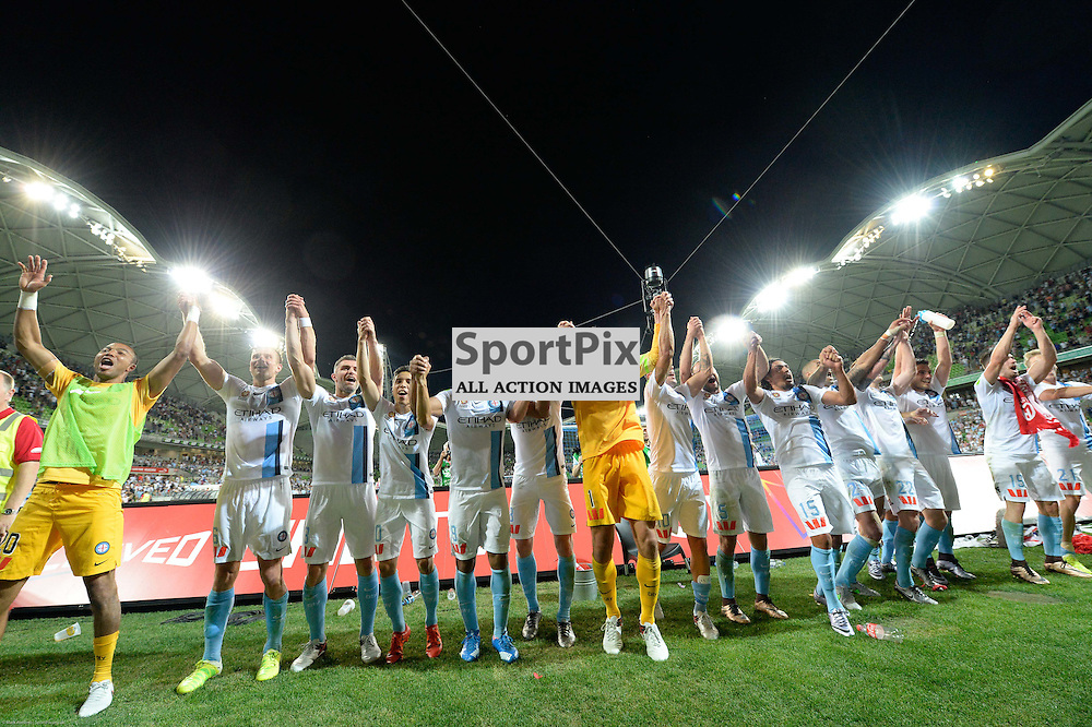 Elated Melbourne City at the end of the Hyundai A-League, 19th December 2015, RD11 match between Melbourne City FC v Melbourne Victory FC at Aami Park in a 2:1 win to City in front of a 23,000+ crowd. Melbourne Australia. © Mark Avellino | SportPix.org.uk