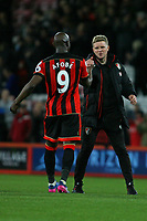 Football - 2016 / 2017 Premier League - AFC Bournemouth vs. Swansea City<br /> <br /> Bournemouth's Benik Afobe gets congratulated by Bournemouth's Manager Eddie Howe at the Vitality Stadium (Dean Court) Bournemouth<br /> <br /> COLORSPORT/SHAUN BOGGUST