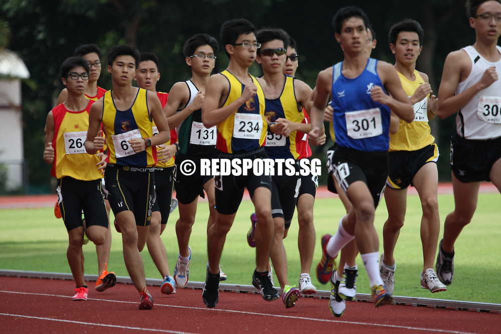 Choa Chu Kang Stadium, Wednesday, April 17, 2013 &mdash; Benjamin Tang of Hwa Chong Institution finished first in the A Division 1,500m final at the 54th National Schools Track and Field Championships. <br />