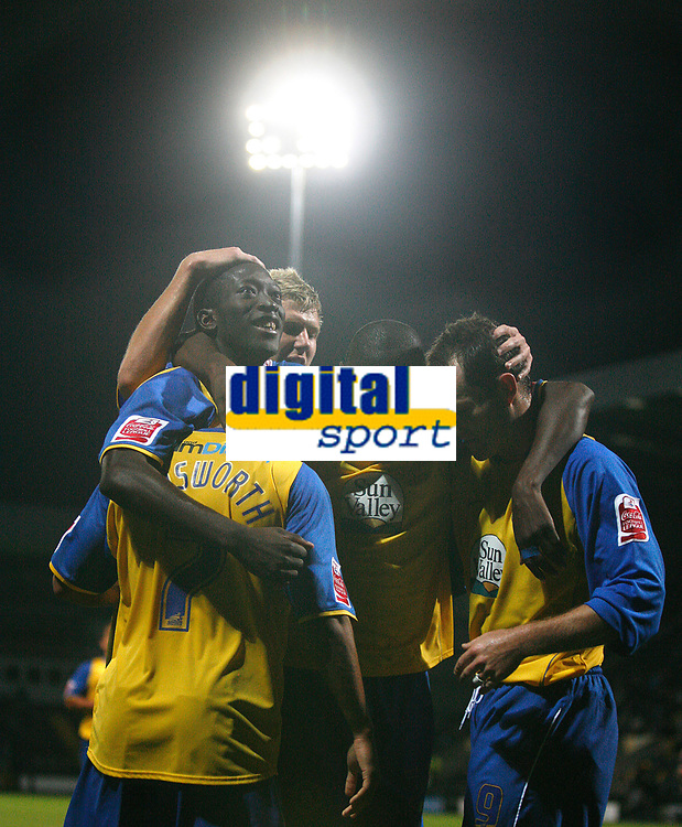 Photo: Steve Bond.<br /> Notts County v Hereford United. Coca Cola League 2. 02/10/2007. Hereford United celebrate the 3rd goal under the floodlights