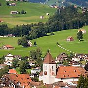 Village buildings clustered around village church of Appenzell, Switzerland<br />
