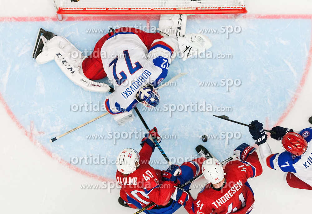 Ken Andre Olimb of Norway and Patrick Thoresen of Norway vs Sergei Bobrovski of Russia and Dmitri Kulikov of Russia during Ice Hockey match between Russia and Norway at Day 1 in Group B of 2015 IIHF World Championship, on May 1, 2015 in CEZ Arena, Ostrava, Czech Republic. Photo by Vid Ponikvar / Sportida