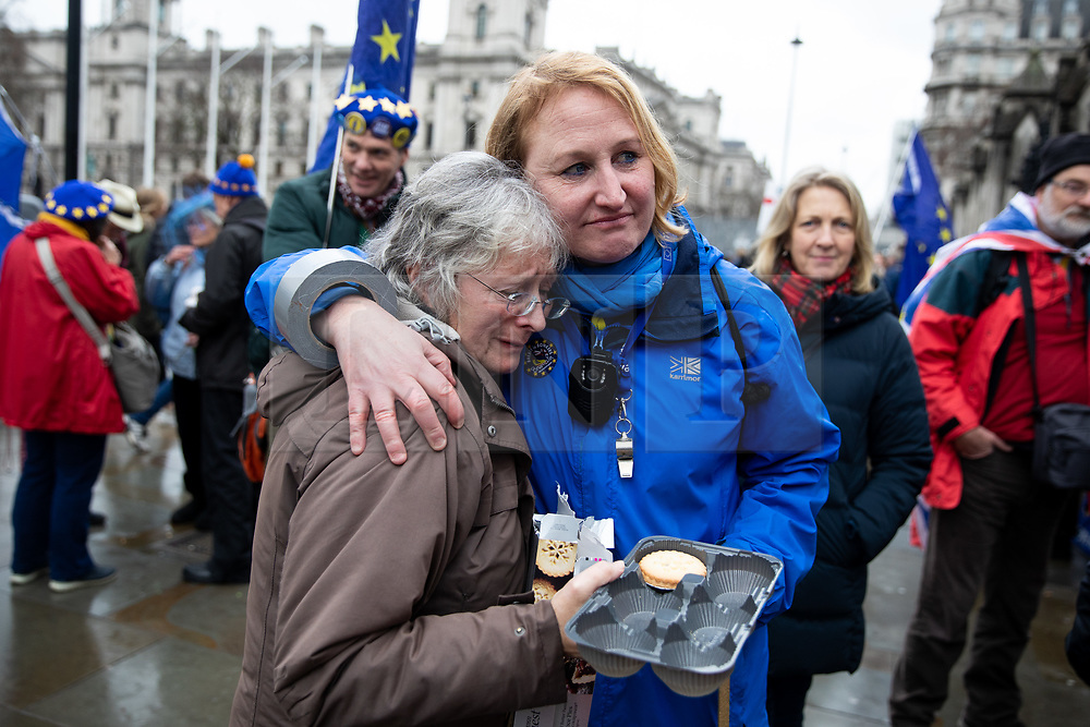 """© Licensed to London News Pictures. 17/12/2019. London, UK. Supporters of Anti-Brexit campaigner Steve Bray (also known as the """"Stop Brexit Man"""") demonstrate in Westminster on the final official day of demonstration by the 'Stand of Defiance European Movement' (SODEM). Steve Bray started the group in September 2017 Photo credit : Tom Nicholson/LNP"""