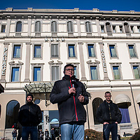 Como, Italy - 9 December 2017: a member of the medias is live on TV prior to Italy's neo-fascist Forza Nuova leader Roberto Fiore's press conference at Palace Hotel. Italy's Democrats led a rally at the same time a few hundreds meters away to warn about a comeback of fascist movements in the country.