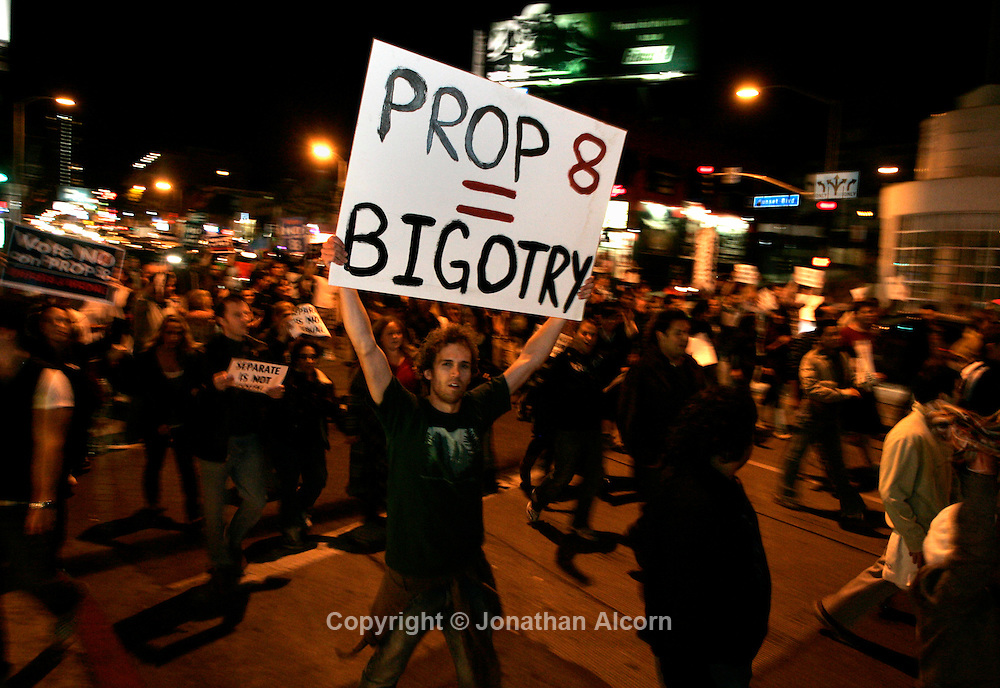 Nov 05, 2008 - West Hollywood, CA, USA - Protesters temporarily stop traffic as they march on Sunset Blvd in opposition to Proposition 8 , which apparently passed in the election yesterday, making gay marriage illegal in California once again. (Credit Image: © Jonathan Alcorn/ZUMA Press)