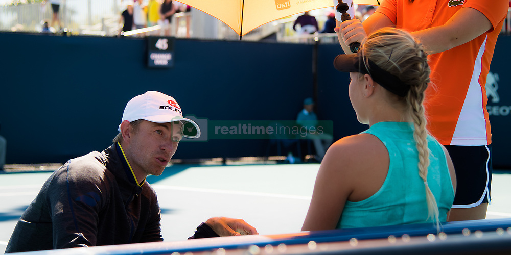 March 22, 2019 - Miami, FLORIDA, USA - Amanda Anisimova of the United States listens to her coach during the second-round at the 2019 Miami Open WTA Premier Mandatory tennis tournament (Credit Image: © AFP7 via ZUMA Wire)